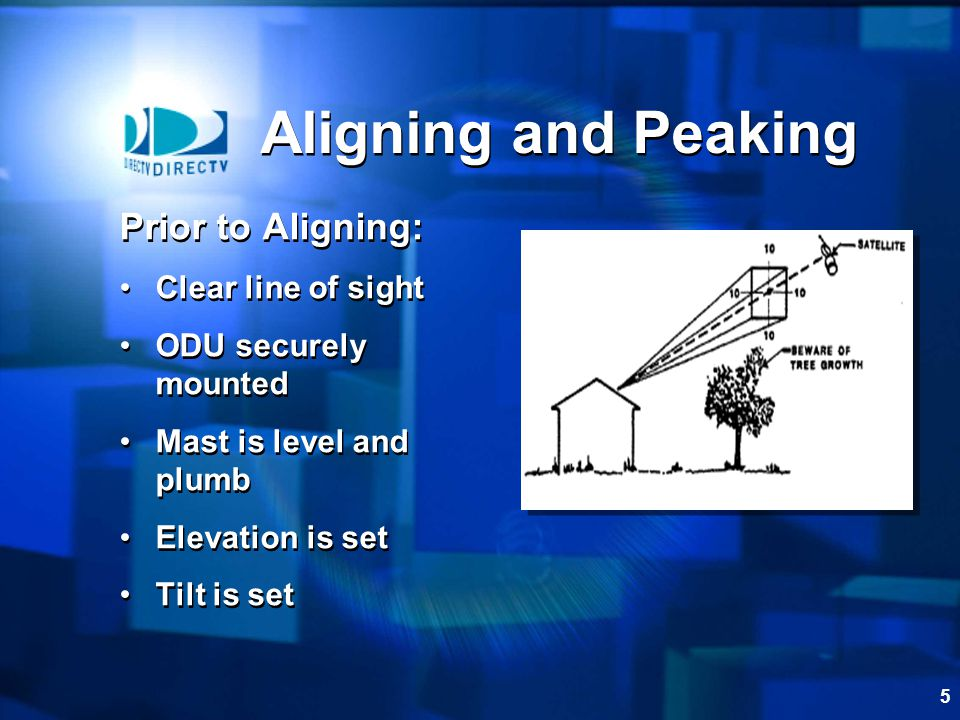 5 Aligning and Peaking Prior to Aligning: Clear line of sight ODU securely mounted Mast is level and plumb Elevation is set Tilt is set Prior to Aligning: Clear line of sight ODU securely mounted Mast is level and plumb Elevation is set Tilt is set