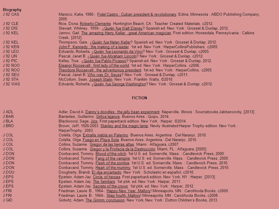 Biography J 92 CASMarsico, Katie, 1980-. Fidel Castro : Cuban president & revolutionary. Edina, Minnesota : ABDO Publishing Company, 2009. J 92 CLERic