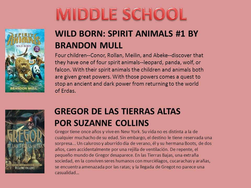 WILD BORN: SPIRIT ANIMALS #1 BY BRANDON MULL Four children--Conor, Rollan, Meilin, and Abeke--discover that they have one of four spirit animals--leop