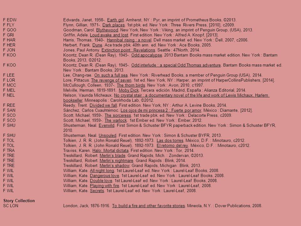 F EDWEdwards, Janet, 1958-. Earth girl. Amherst, NY : Pyr, an imprint of Prometheus Books, ©2013. F FLYFlynn, Gillian, 1971-. Dark places. 1st pbk. ed