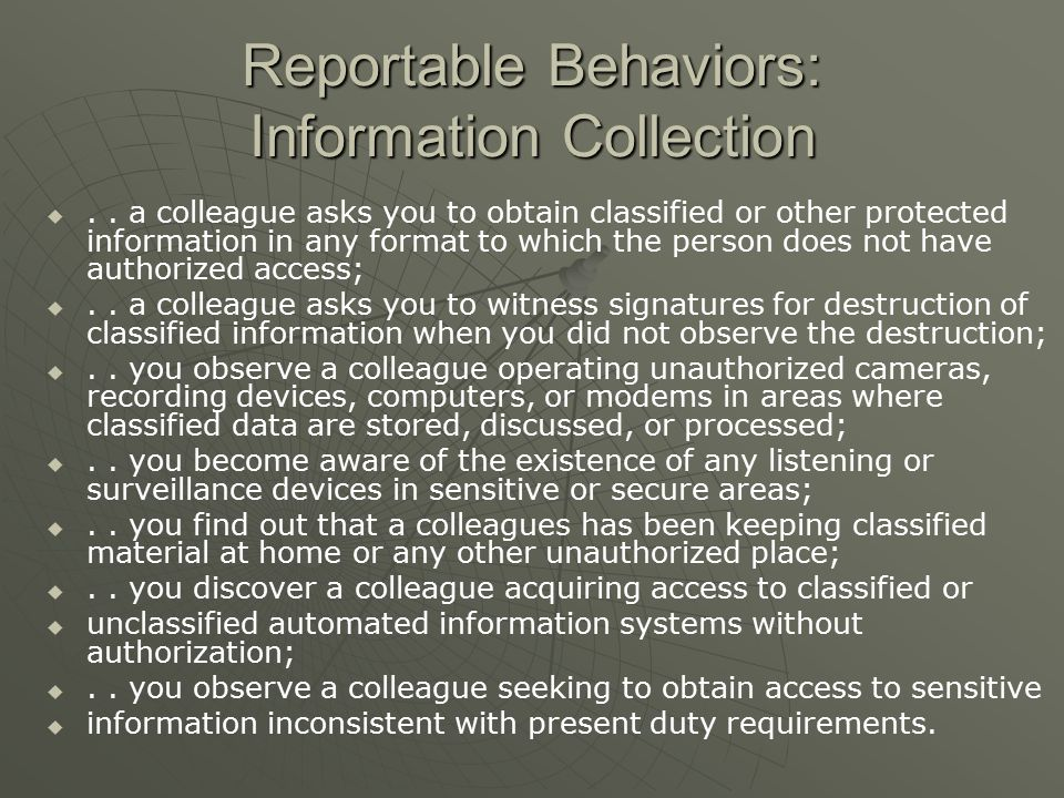 Reportable Behaviors: Information Collection  ..