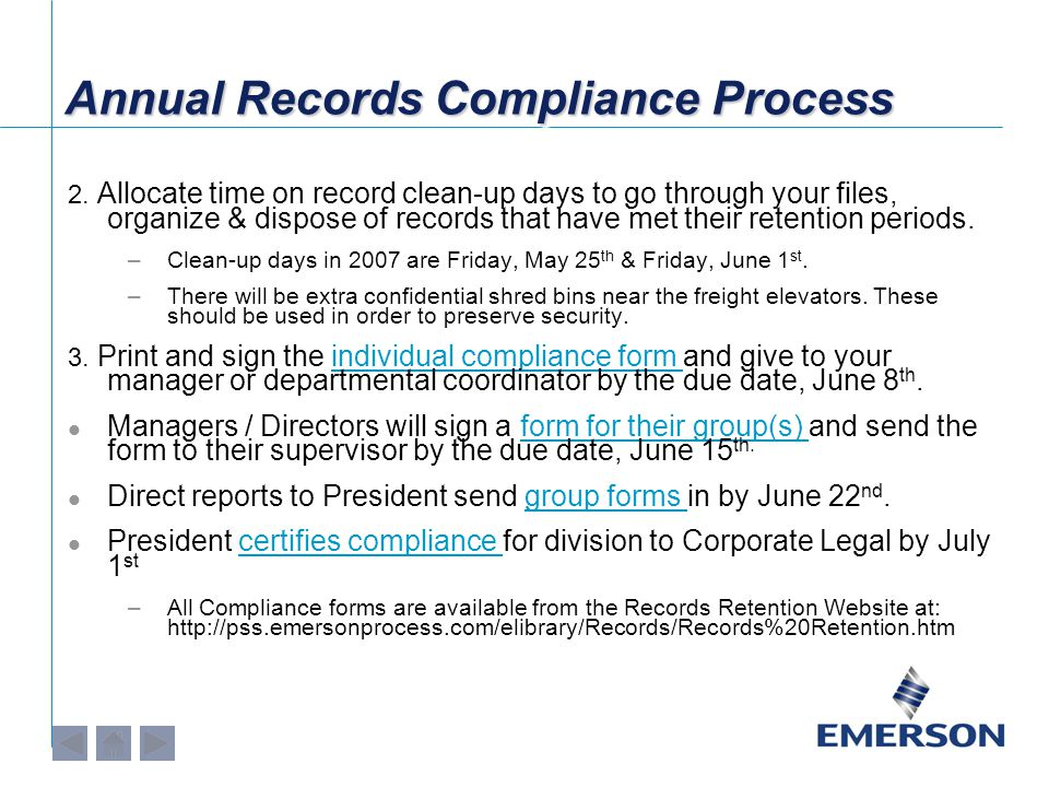 Annual Records Compliance Process 2.