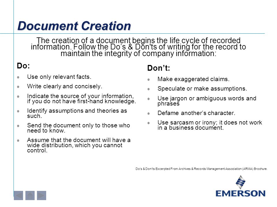 Document Creation Do: Use only relevant facts. Write clearly and concisely.