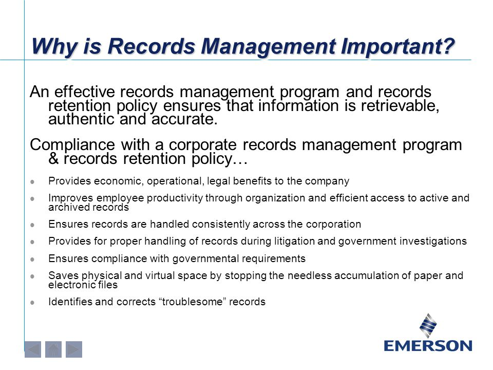 Overview of Emerson's Record Retention Policy