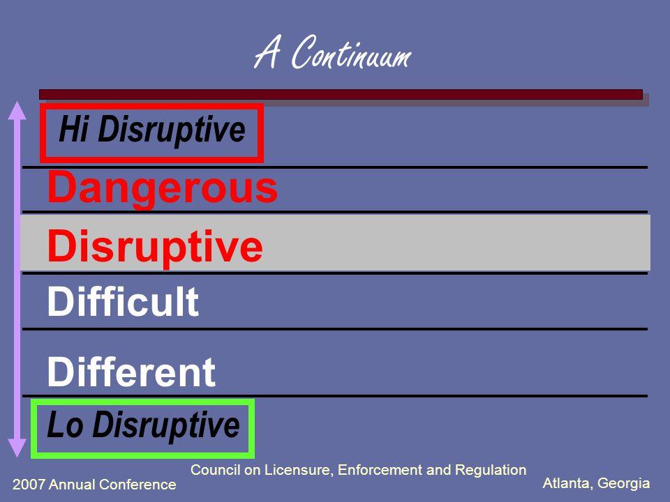 Atlanta, Georgia 2007 Annual Conference Council on Licensure, Enforcement and Regulation A Continuum Dangerous Disruptive Difficult Different Lo Disruptive Hi Disruptive
