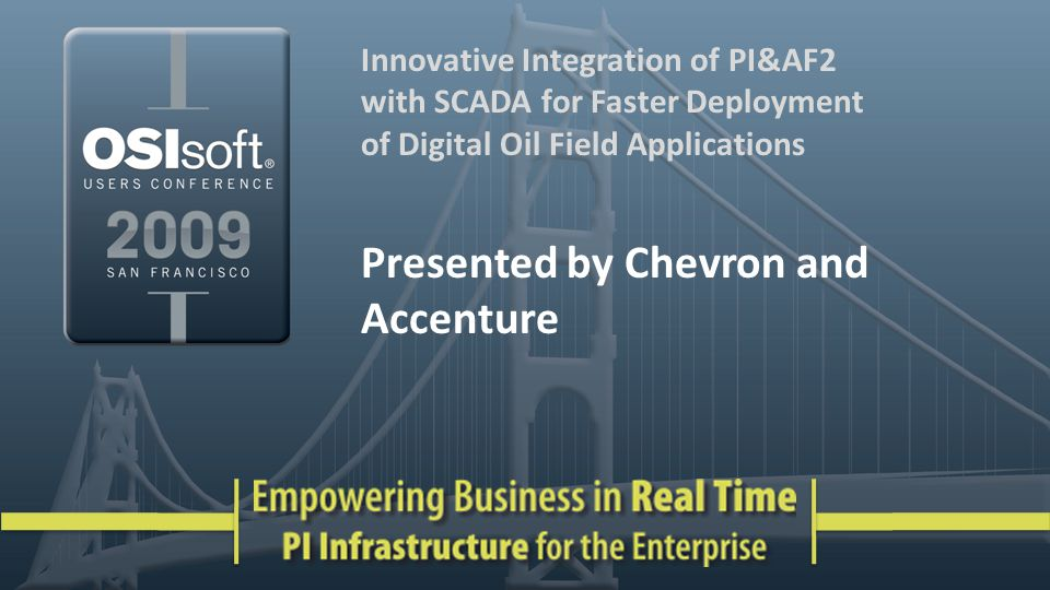 2 Agenda Introductions & Background Problem Description OSIsoft PI and AF Integration Requirements Solution Connector to SCADA AF Structure Data flow Data access Results & Benefits Future Enhancements