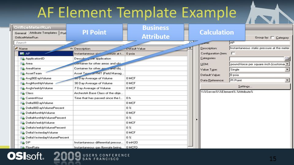 AF Element Template Example PI Point Calculation Business Attribute 15