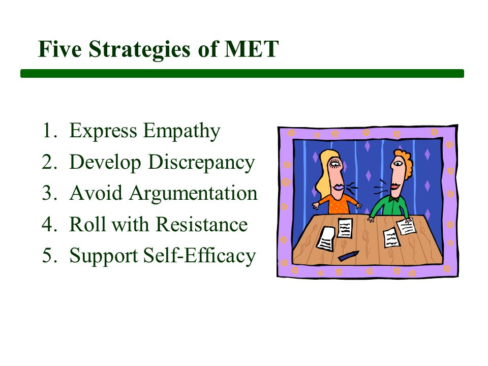 Five Strategies of MET 1. Express Empathy 2. Develop Discrepancy 3.