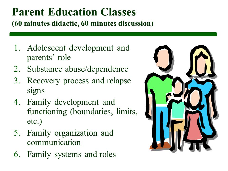 Parent Education Classes (60 minutes didactic, 60 minutes discussion) 1.Adolescent development and parents' role 2.Substance abuse/dependence 3.Recovery process and relapse signs 4.Family development and functioning (boundaries, limits, etc.) 5.Family organization and communication 6.Family systems and roles