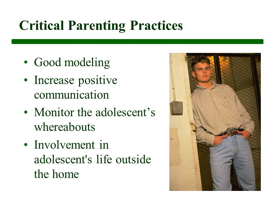 Critical Parenting Practices Good modeling Increase positive communication Monitor the adolescent's whereabouts Involvement in adolescent s life outside the home
