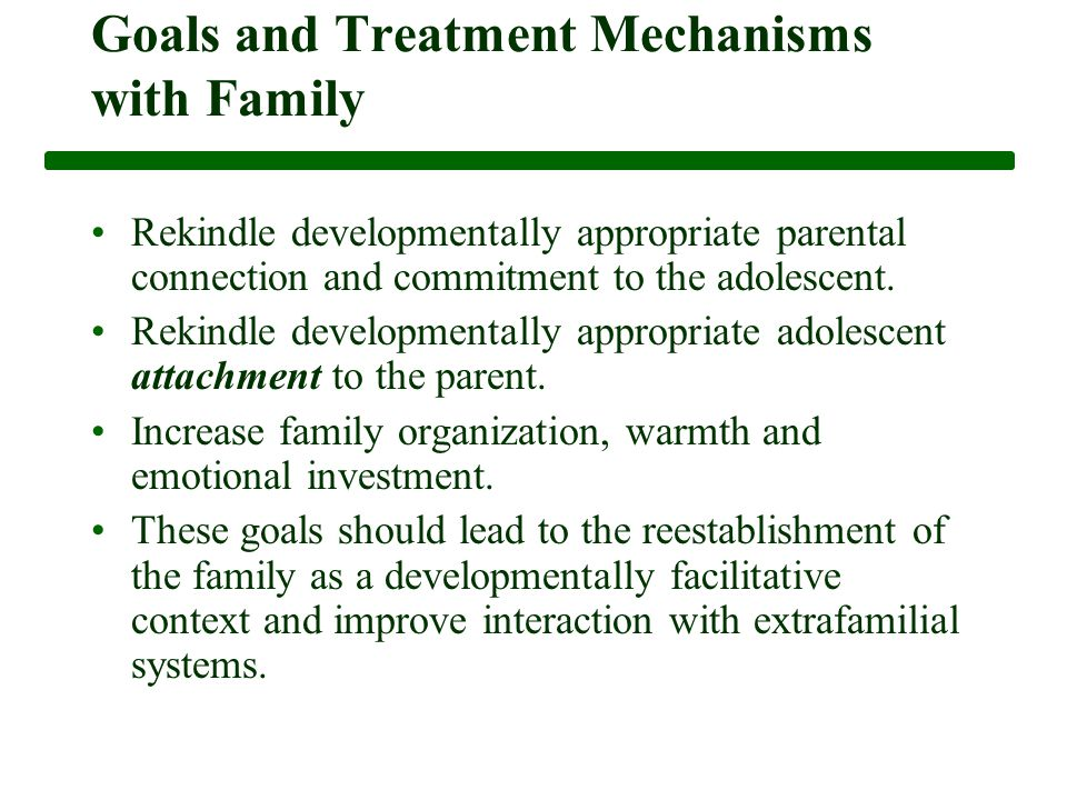Goals and Treatment Mechanisms with Family Rekindle developmentally appropriate parental connection and commitment to the adolescent.