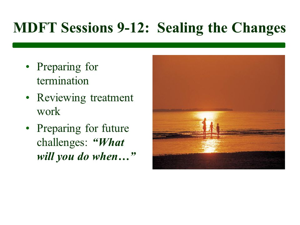 MDFT Sessions 9-12: Sealing the Changes Preparing for termination Reviewing treatment work Preparing for future challenges: What will you do when…