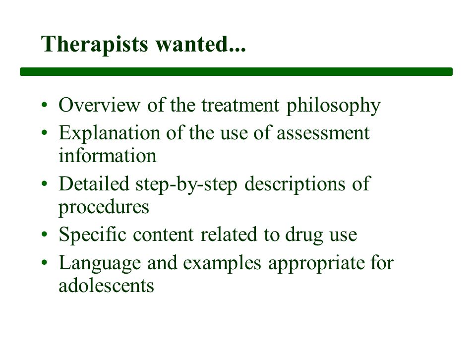 Therapists wanted...