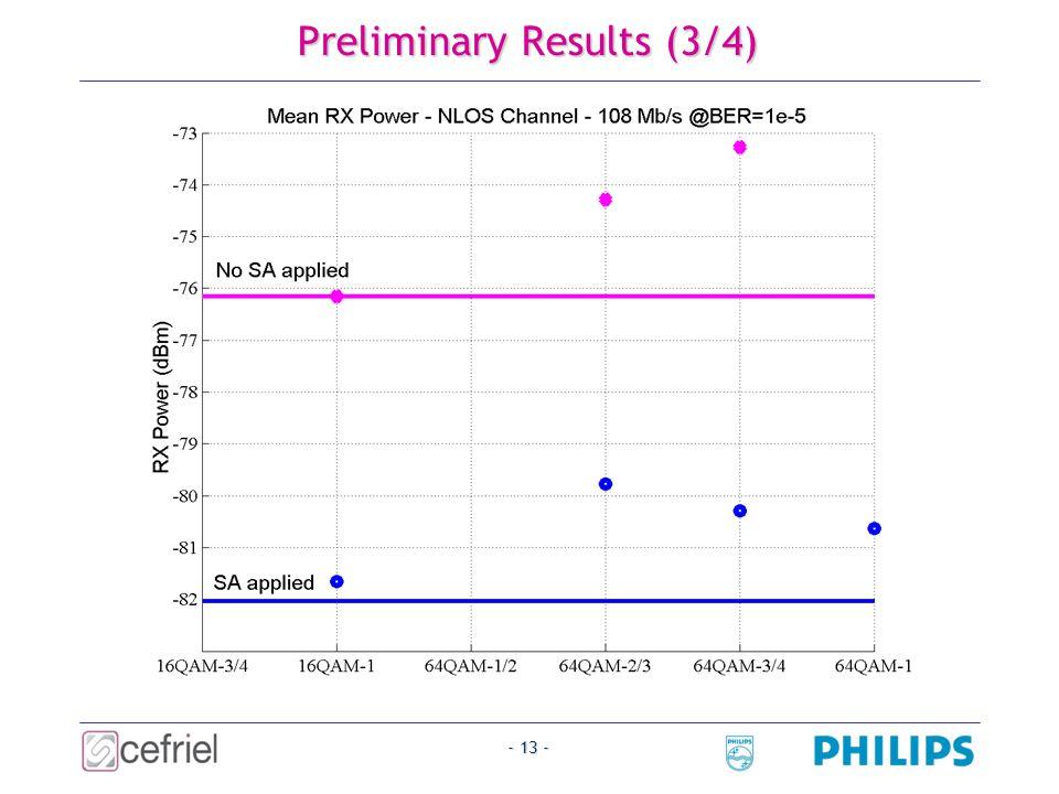 - 13 - Preliminary Results (3/4)