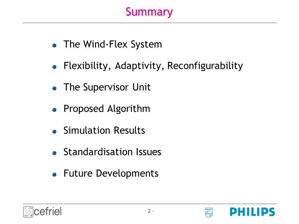- 3 - Wind-Flex System (1/3) A flexible radio interface for short-range high-speed wireless networking