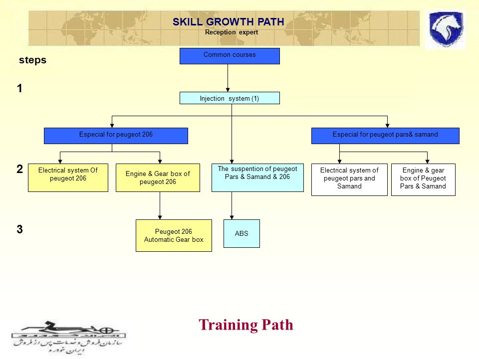 SKILL GROWTH PATH Reception expert 123123 steps Training Path The suspention of peugeot Pars & Samand & 206 ABS Injection system (1) Engine & gear box