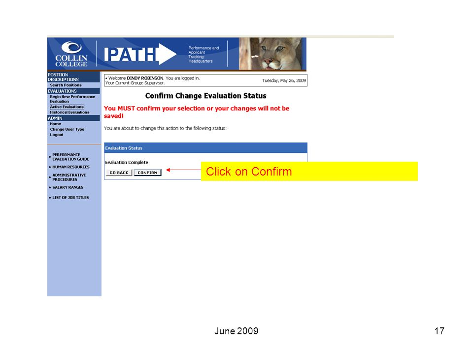 Click on Confirm 17June 2009