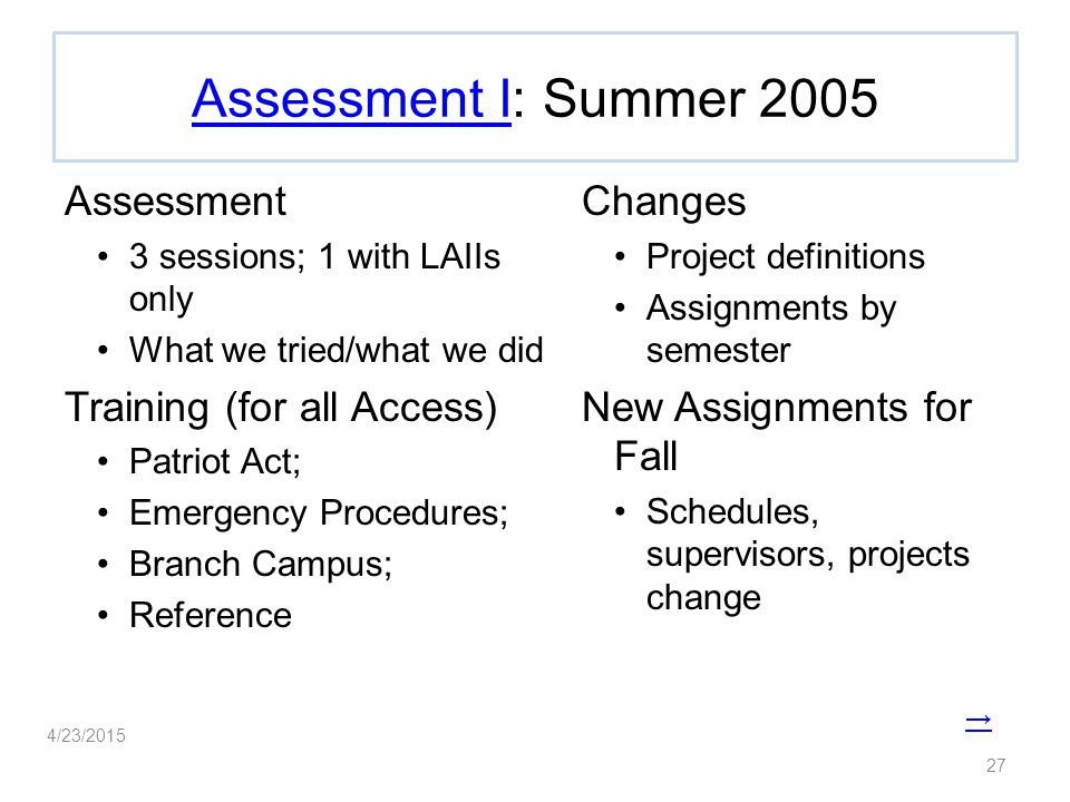 Assessment IAssessment I: Summer 2005 Assessment 3 sessions; 1 with LAIIs only What we tried/what we did Training (for all Access) Patriot Act; Emergency Procedures; Branch Campus; Reference Changes Project definitions Assignments by semester New Assignments for Fall Schedules, supervisors, projects change 27 4/23/2015 →