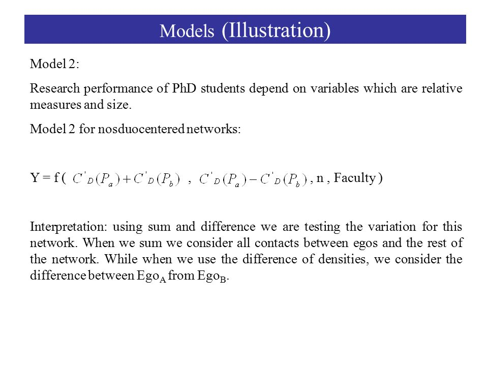 Models (Illustration) Model 2: Research performance of PhD students depend on variables which are relative measures and size.