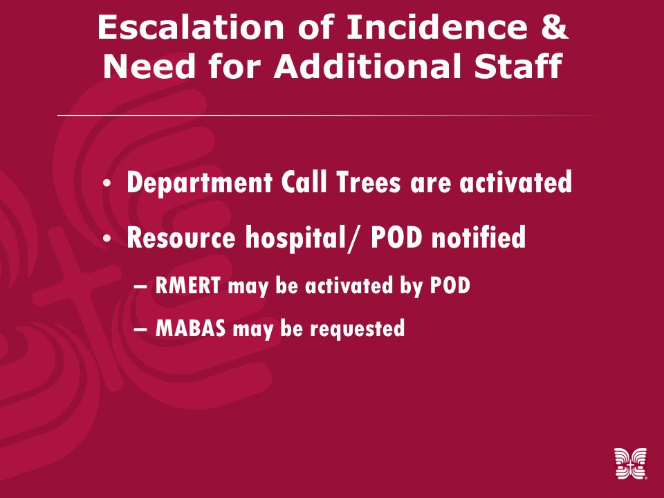 Escalation of Incidence & Need for Additional Staff  Department Call Trees are activated  Resource hospital/ POD notified –RMERT may be activated by POD –MABAS may be requested
