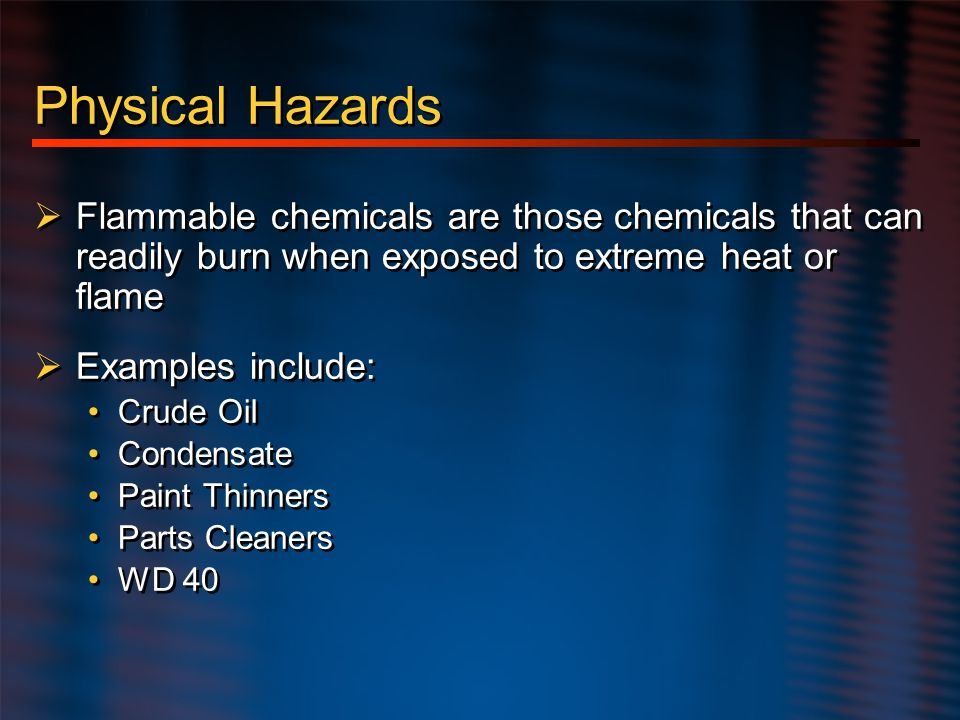 Physical Hazards – cont.
