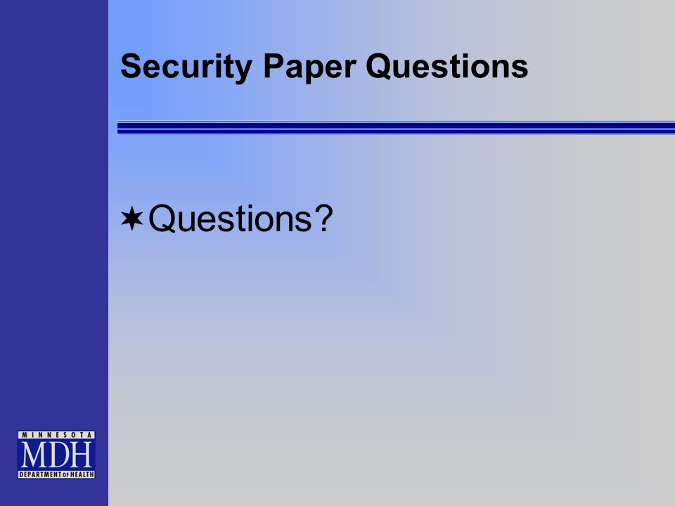 Security Paper Questions  Questions