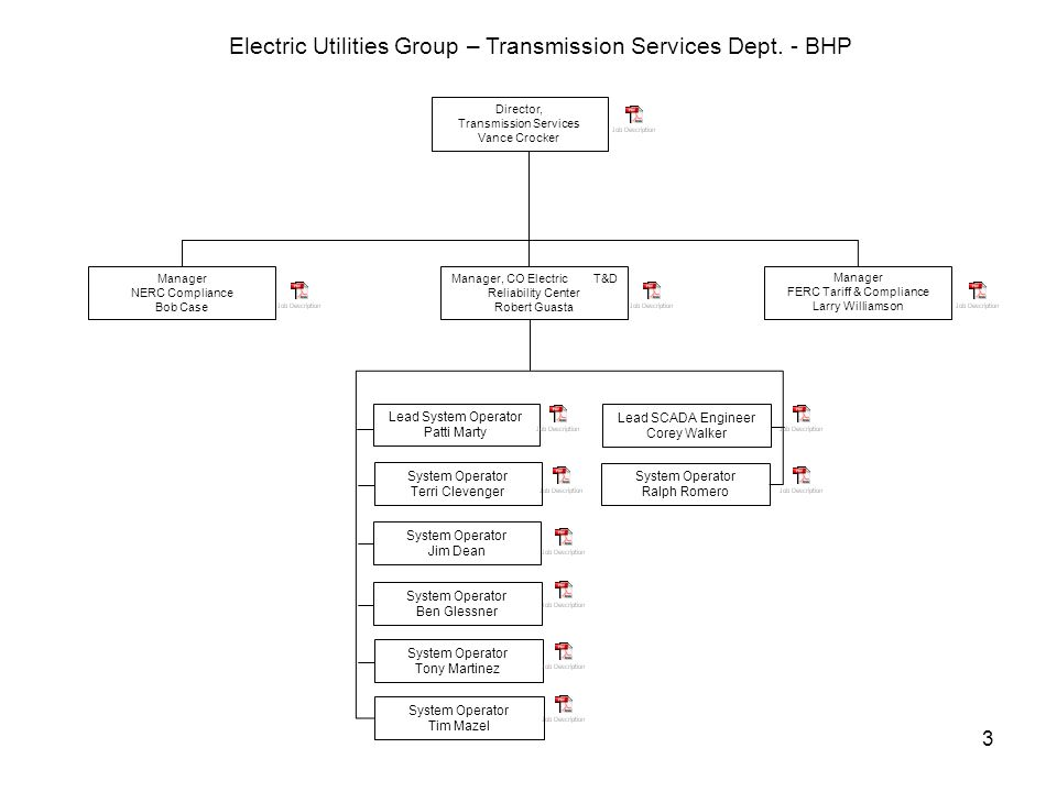 3 Director, Transmission Services Vance Crocker Electric Utilities Group – Transmission Services Dept.