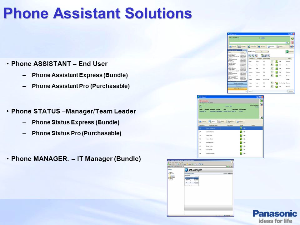 Phone Assistant Solutions Phone ASSISTANT – End User –Phone Assistant Express (Bundle) –Phone Assistant Pro (Purchasable) Phone STATUS –Manager/Team L