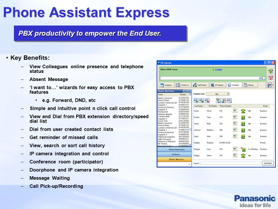 PBX productivity to empower the End User. PBX productivity to empower the End User. Phone Assistant Express Key Benefits: –View Colleagues online pres