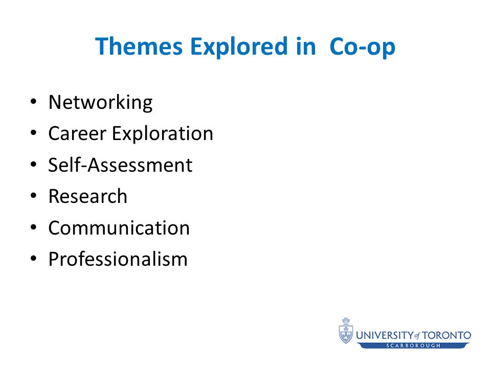 Themes Explored in Co-op Networking Career Exploration Self-Assessment Research Communication Professionalism
