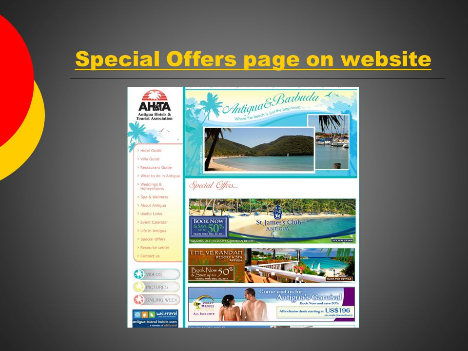 Special Offers page on website