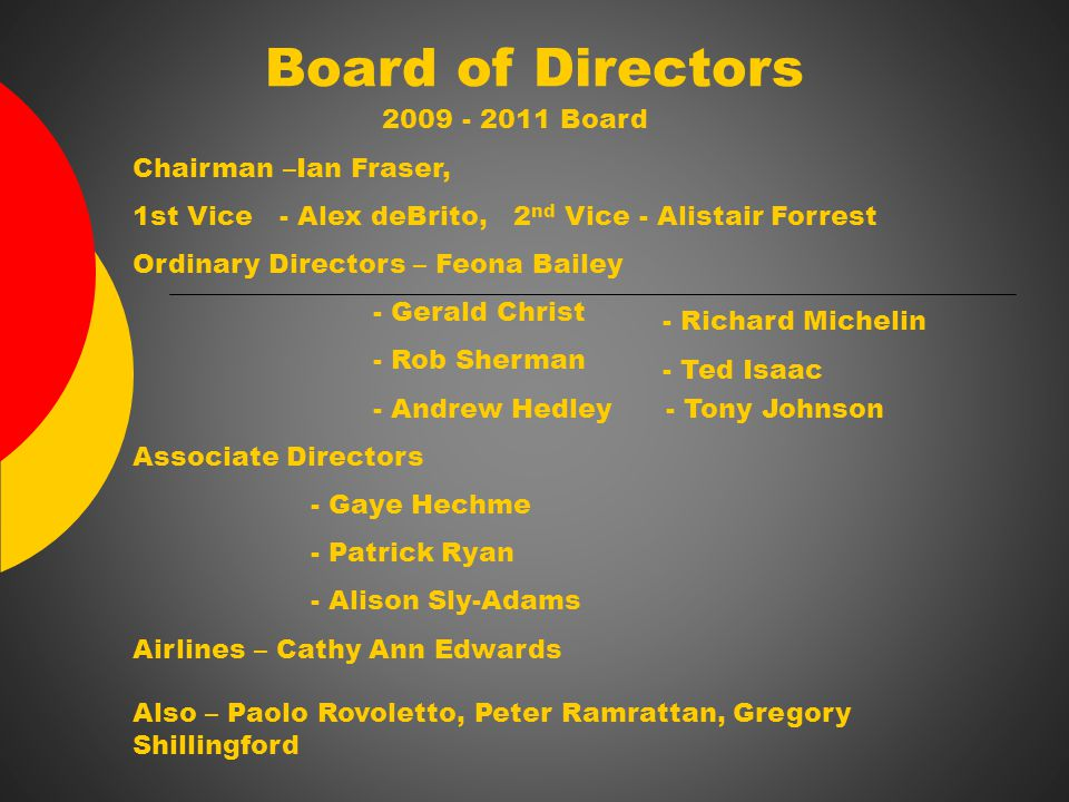 Board of Directors 2009 - 2011 Board Chairman –Ian Fraser, 1st Vice - Alex deBrito, 2 nd Vice - Alistair Forrest Ordinary Directors – Feona Bailey - Gerald Christ - Rob Sherman - Andrew Hedley - Tony Johnson Associate Directors - Gaye Hechme - Patrick Ryan - Alison Sly-Adams Airlines – Cathy Ann Edwards Also – Paolo Rovoletto, Peter Ramrattan, Gregory Shillingford - Richard Michelin - Ted Isaac