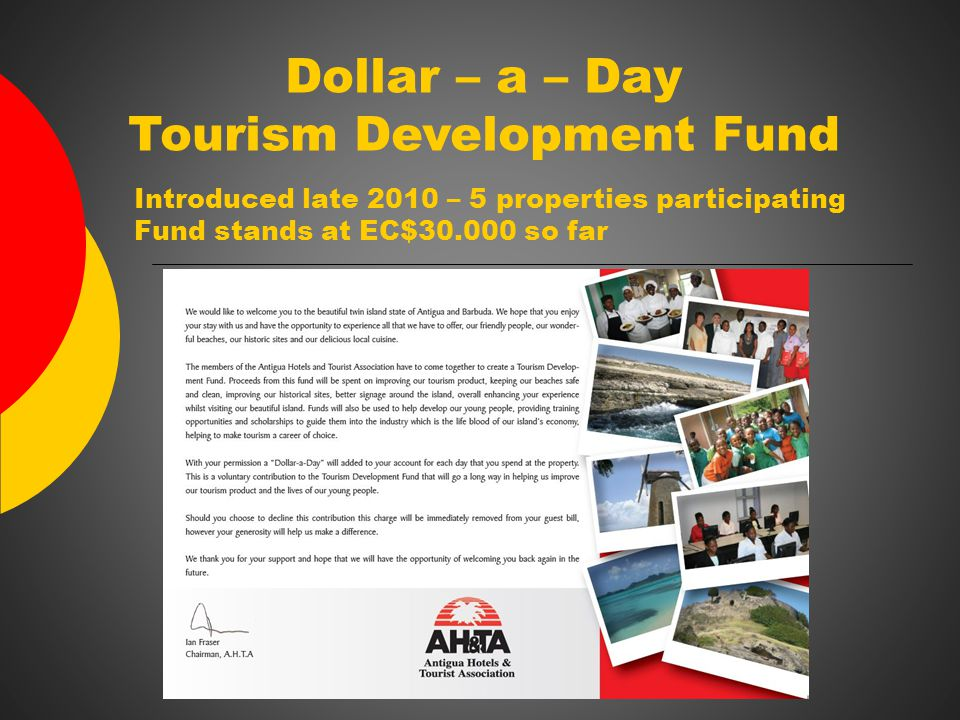 Dollar – a – Day Tourism Development Fund Introduced late 2010 – 5 properties participating Fund stands at EC$30.000 so far