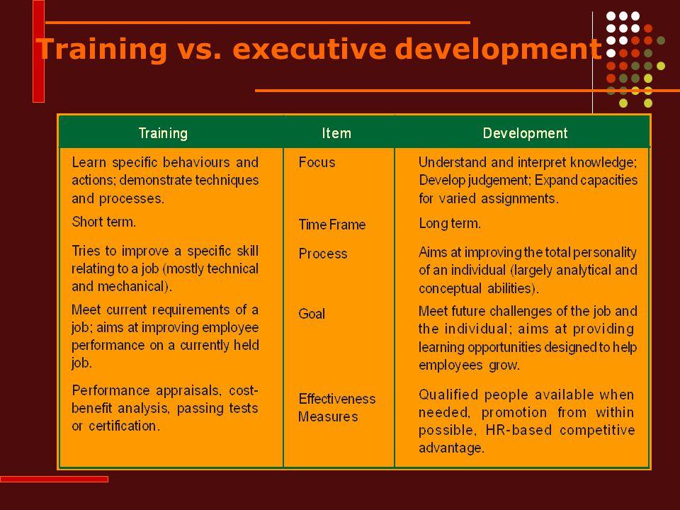 Training vs. executive development