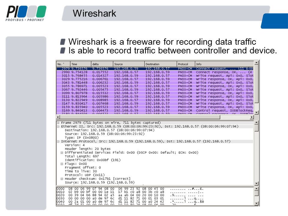 Wireshark Wireshark is a freeware for recording data traffic Is able to record traffic between controller and device.