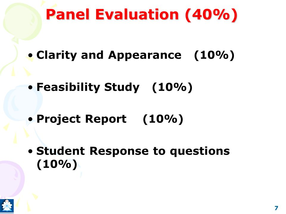 The project Common Structure and Evaluation (Part B) 1.Conducting Experiments (20%) Results recording techniques and skills Safety precautions Maintenance of the log book 2.Results and Discussions (30%) Validity of the results Accuracy of the results 8