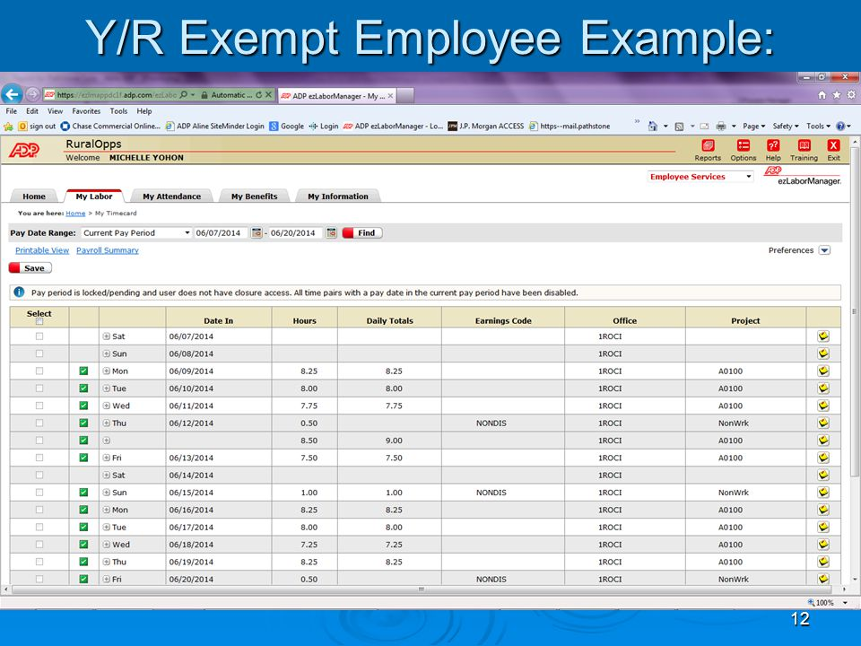 12 Y/R Exempt Employee Example:
