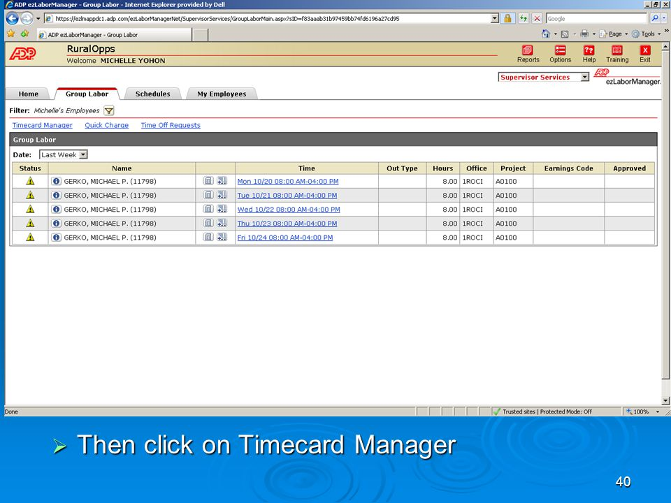 40  Then click on Timecard Manager