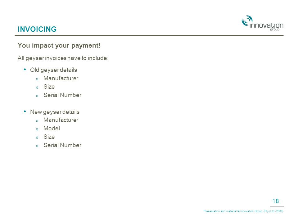 INVOICING You impact your payment.