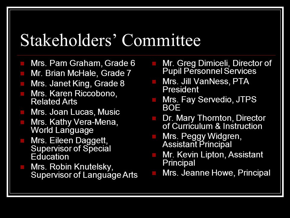 Stakeholders' Committee Mrs. Pam Graham, Grade 6 Mr.