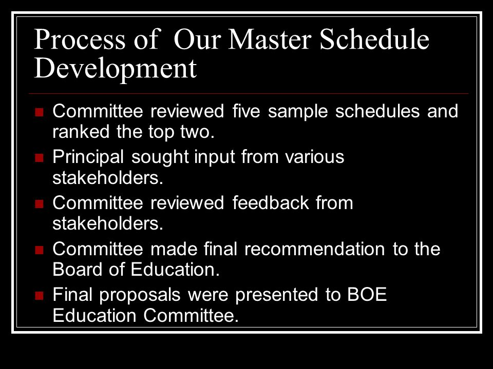 Process of Our Master Schedule Development Committee reviewed five sample schedules and ranked the top two.