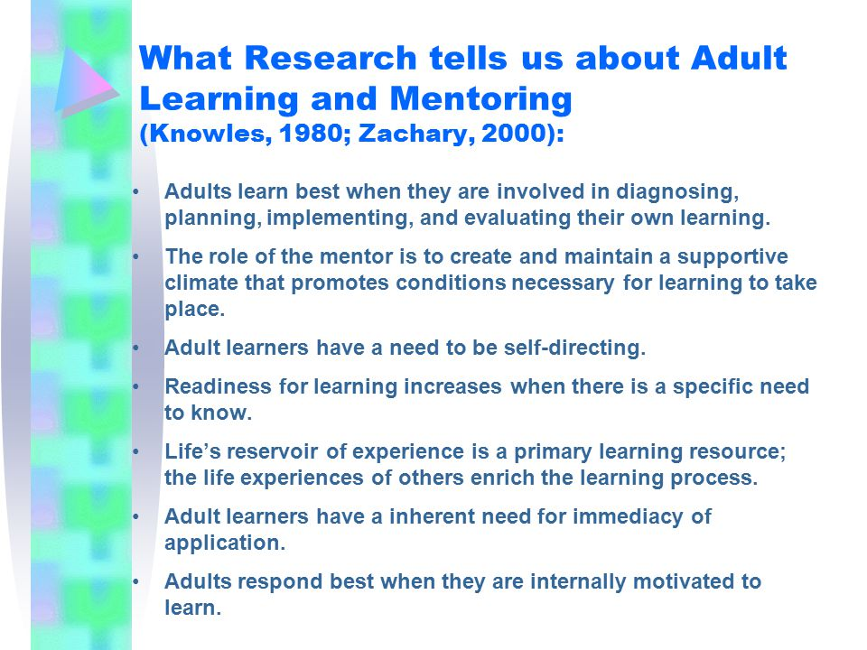 What Research tells us about Adult Learning and Mentoring (Knowles, 1980; Zachary, 2000): Adults learn best when they are involved in diagnosing, planning, implementing, and evaluating their own learning.