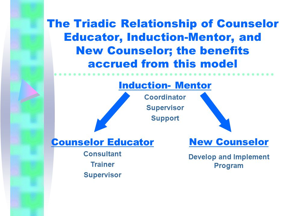 The Triadic Relationship of Counselor Educator, Induction-Mentor, and New Counselor; the benefits accrued from this model Counselor Educator Consultant Trainer Supervisor Induction- Mentor Coordinator Supervisor Support New Counselor Develop and Implement Program