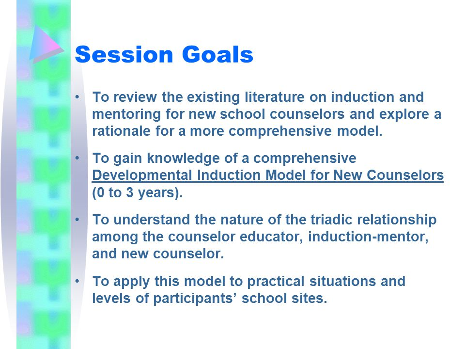 Agenda Introductions Goals A Highlight of Existing Models of Induction- Mentoring for New Counselors A Comprehensive Developmental Induction Model for New Counselors The Triadic Relationship of Counselor Educator, Induction-Mentor, and New Counselor Applying the Model to Participants' Sites and Levels Discussion and Questions