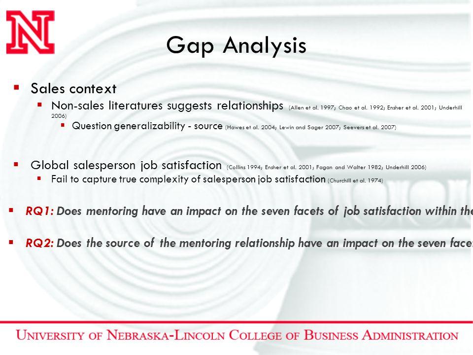 Gap Analysis  Sales context  Non-sales literatures suggests relationships (Allen et al. 1997; Chao et al. 1992; Ensher et al. 2001; Underhill 2006)