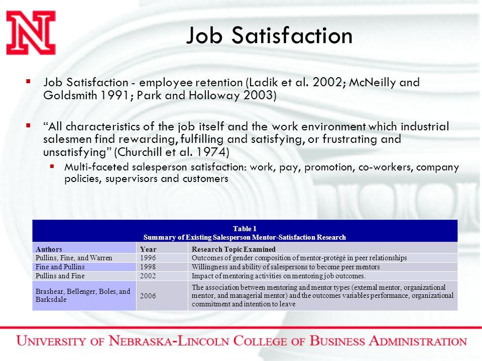 "Job Satisfaction  Job Satisfaction - employee retention (Ladik et al. 2002; McNeilly and Goldsmith 1991; Park and Holloway 2003)  ""All characteristi"