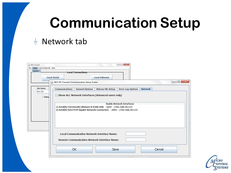 Communication Setup Network tab