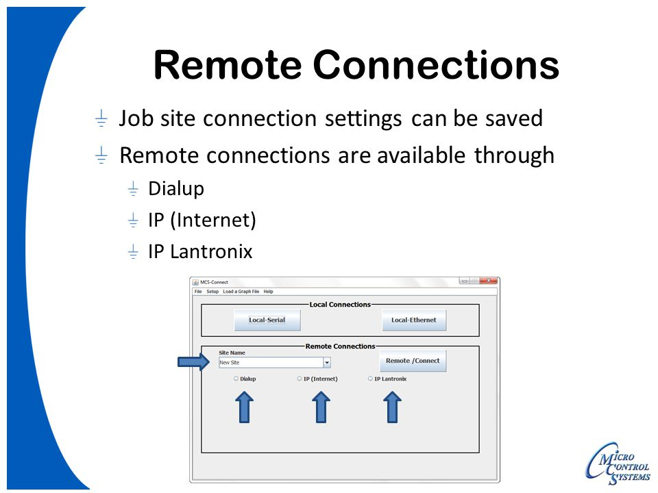 Remote Connections Job site connection settings can be saved Remote connections are available through Dialup IP (Internet) IP Lantronix