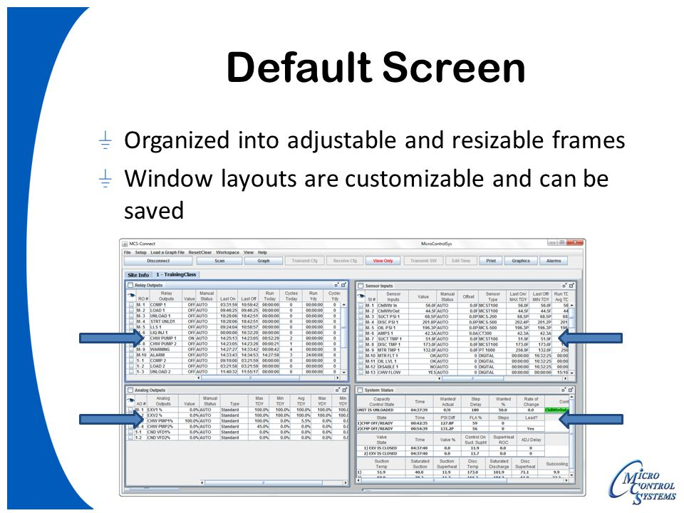 Default Screen Organized into adjustable and resizable frames Window layouts are customizable and can be saved