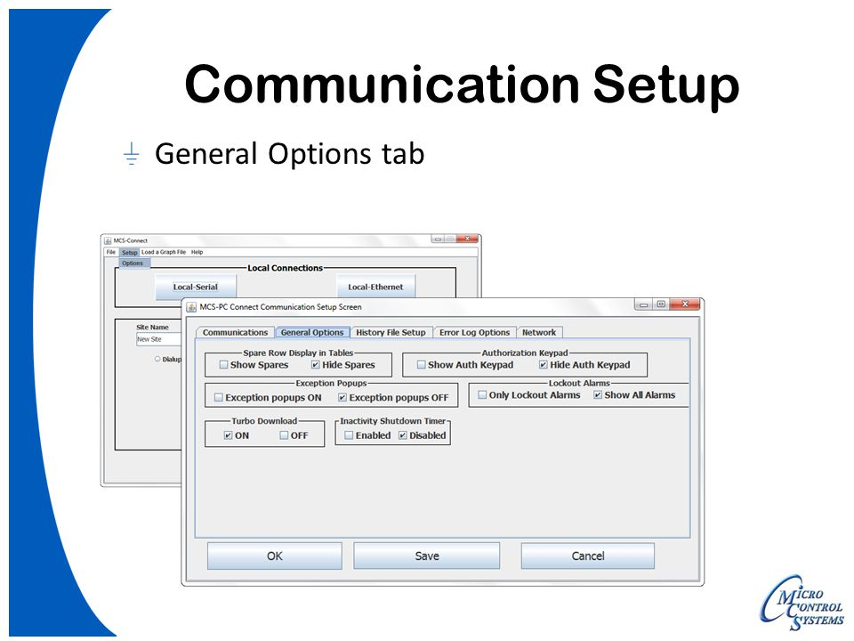 Communication Setup General Options tab